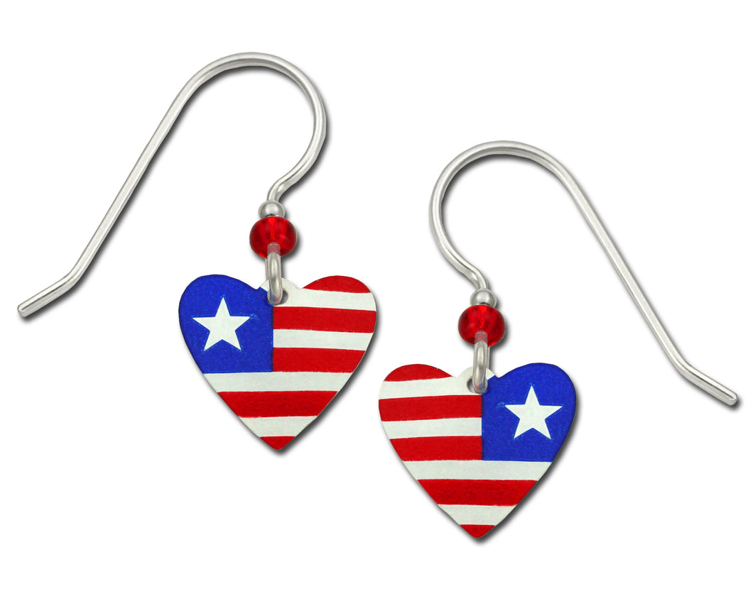 Sienna Sky Patriotic Heart Red White Blue Handmade Earrings