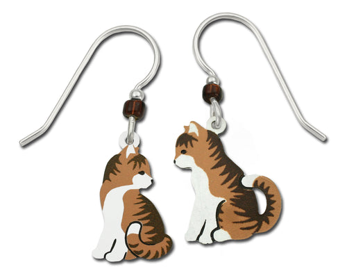 Sienna Sky Calico Cat Tess Striped Tabby Hand Painted Earrings