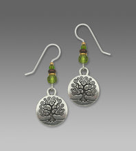 Sienna Sky Tree of Life Etched Charm Silvertone Handmade Earrings