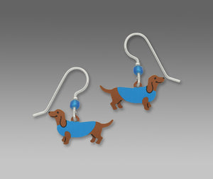 Sienna Sky Dachshund Dog in Blue Sweater Hand Painted Earrings