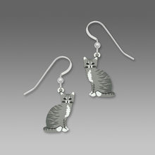 Sienna Sky Grey and White Tabby Striped Cat Hand Painted Earrings