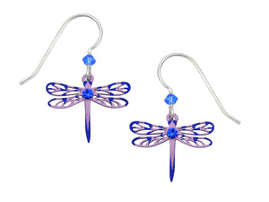 Sienna Sky Lavender Purple Striped Dragonfly with Rhinestone Filigree Hand Painted Earrings