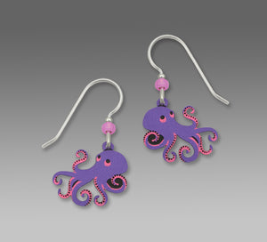 Sienna Sky Purple and Pink Octopus Hand Painted Earrings