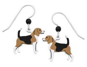 Sienna Sky Tan Black and White Beagle Dog Hand Painted Earrings