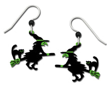 Sienna Sky Flying Witch and Black Cat Halloween Earrings Hand Painted