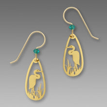 Sienna Sky Heron Bird in Marsh Gold Plated Filigree Teardrop Handmade Earrings
