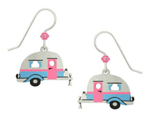 Sienna Sky Vintage Retro Camper Travel Trailer Blue Pink and Silver Hand Painted Earrings