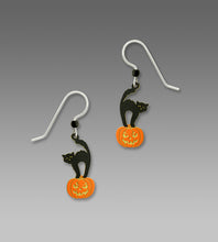 Sienna Sky Black Cat on Jack O Lantern Halloween Earrings Hand Painted