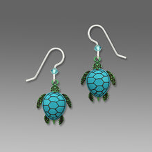 Sienna Sky Blue and Green Sea Turtle Hand Painted Earrings