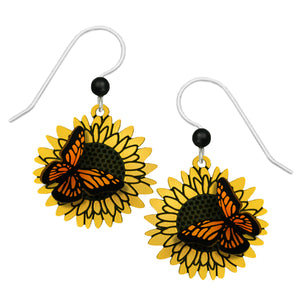 Sienna Sky Monarch Butterfly Sunflower 3D Hand Painted Earrings