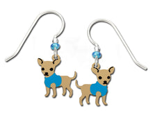 Sienna Sky Chihuahua Puppy Dog in Blue Sweater Hand Painted Earrings
