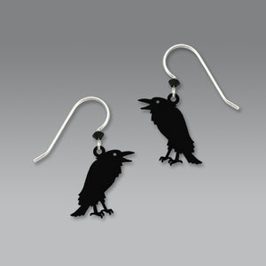 Sienna Sky Talking Raven Black Crow Bird Hand Painted Earrings