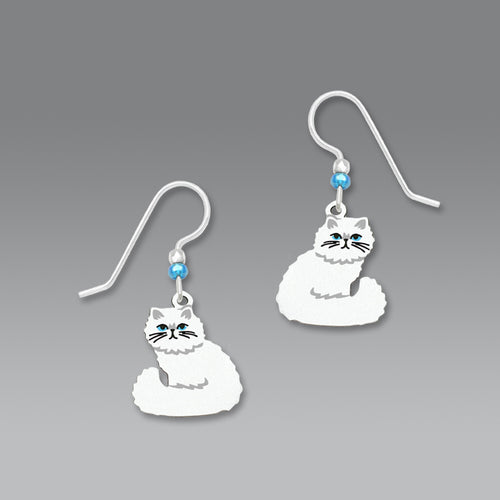 White Persian Long Haired Cat Hand Painted Earrings