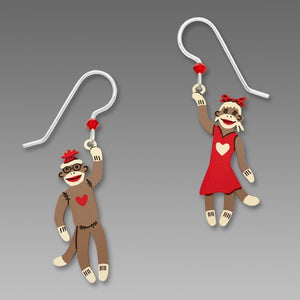 Sienna Sky Boy and Girl Sock Monkey Retro Hand Painted Earrings