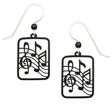 Sienna Sky Black Musical Treble Clef and Notes Hand Painted Earrings