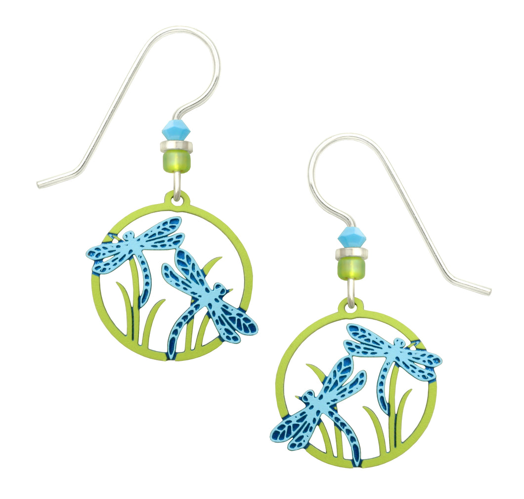 Sienna Sky Dragonflies Blue and Green Hand Painted Earrings