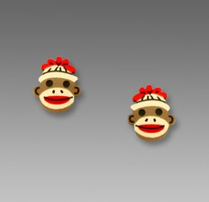 Sock Monkey Face Post Stud Hand Painted Earrings