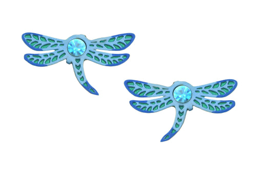 Sienna Sky Blue Dragonfly Post Stud Hand Painted Earrings