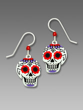 Sienna Sky Sugar Skull Day of the Dead Red and Purple Hand Painted Earrings