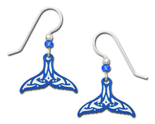 Sienna Sky Whale Tail Hand Painted Earrings in Maori Blue and White Pattern