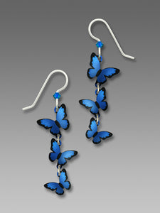 Sienna Sky 3 Part Morpho Butterfly Long Dangle Hand Painted Earrings