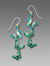 Sienna Sky 3 Part Turquoise and Teal Butterfly Long Dangle Hand Painted Earrings