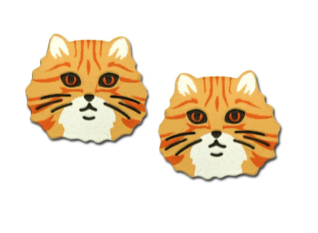 Sienna Sky Orange Tabby Cat Post Stud Hand Painted Earrings