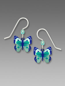 Sienna Sky Turquoise and Deep Blue Butterfly Hand Painted Earrings