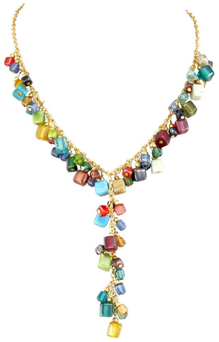 Handmade Indian Multi Colored Bead Y Necklace