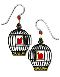 Sienna Sky Open Bird Cage with Red Bird on Swing Hand Painted Earrings