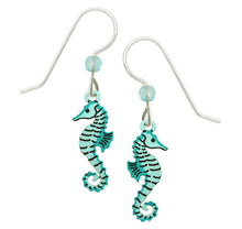 Sienna Sky Aqua Blue Sea Horse Hand Painted Earrings