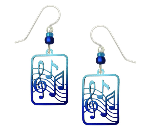 Sienna Sky Blue Musical Treble Clef and Notes Hand Painted Earrings