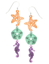 Sienna Sky Starfish Sand Dollar Seahorse 3 Part Dangle Hand Painted Earrings