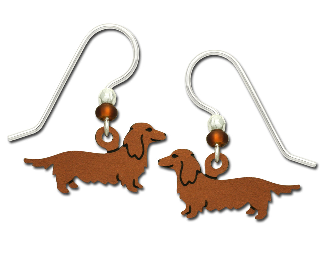 Sienna Sky Long Haired Dachshund Dog Hand Painted Earrings