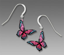 Sienna Sky Pink and Blue Butterfly Hand Painted Earrings