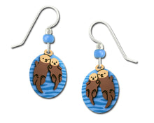 Sienna Sky Sea Otters Holding Hands 2 Part Hand Painted Earrings