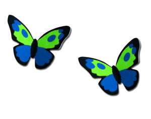 Sienna Sky Blue Green 3D Butterfly Post Stud Hand Painted Earrings