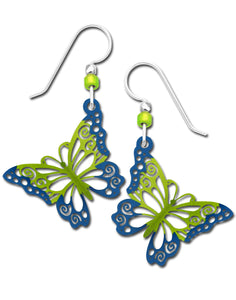 Sienna Sky 3D Green and Blue Filigree Butterfly Hand Painted Earrings