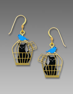 Sienna Sky Black Cat in Bird Cage with Bluebird Gold Hand Painted Earrings