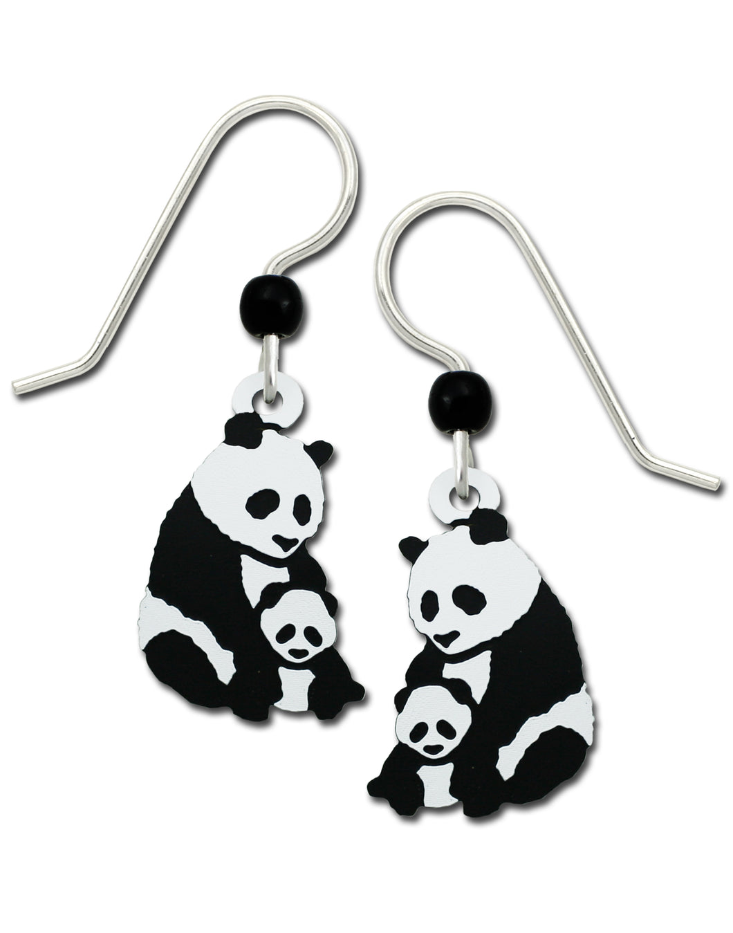 Sienna Sky Mother and Baby Panda Bear Hand Painted Earrings