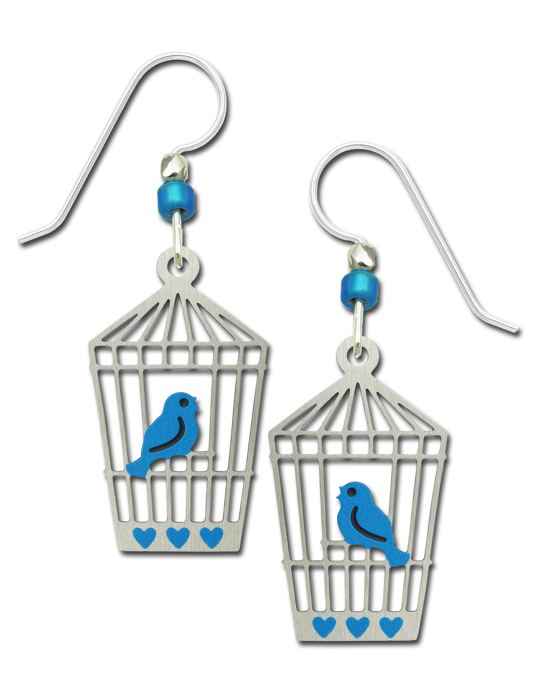 Sienna Sky Bluebird in Open Silvery Bird Cage Hand Painted Earrings