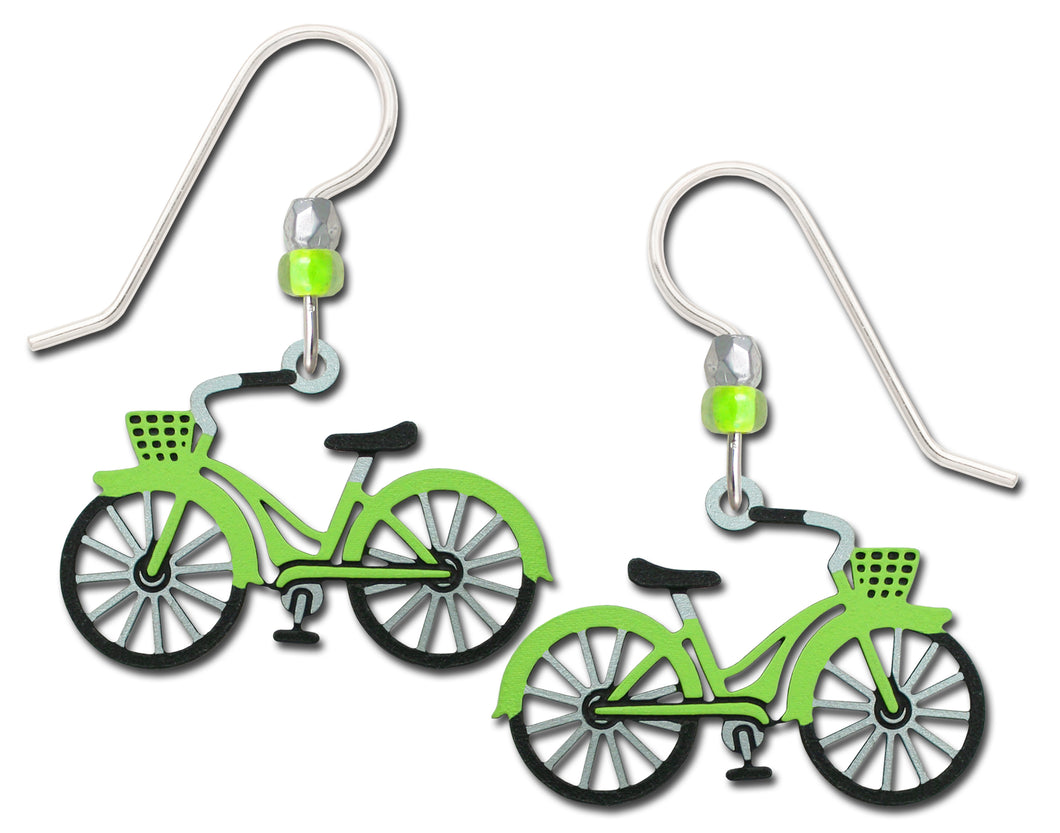Sienna Sky Vintage Retro Lime Green Bike Hand Painted Earrings