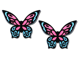 Sienna Sky Pink Fantasy 3D Butterfly Post Stud Hand Painted Earrings