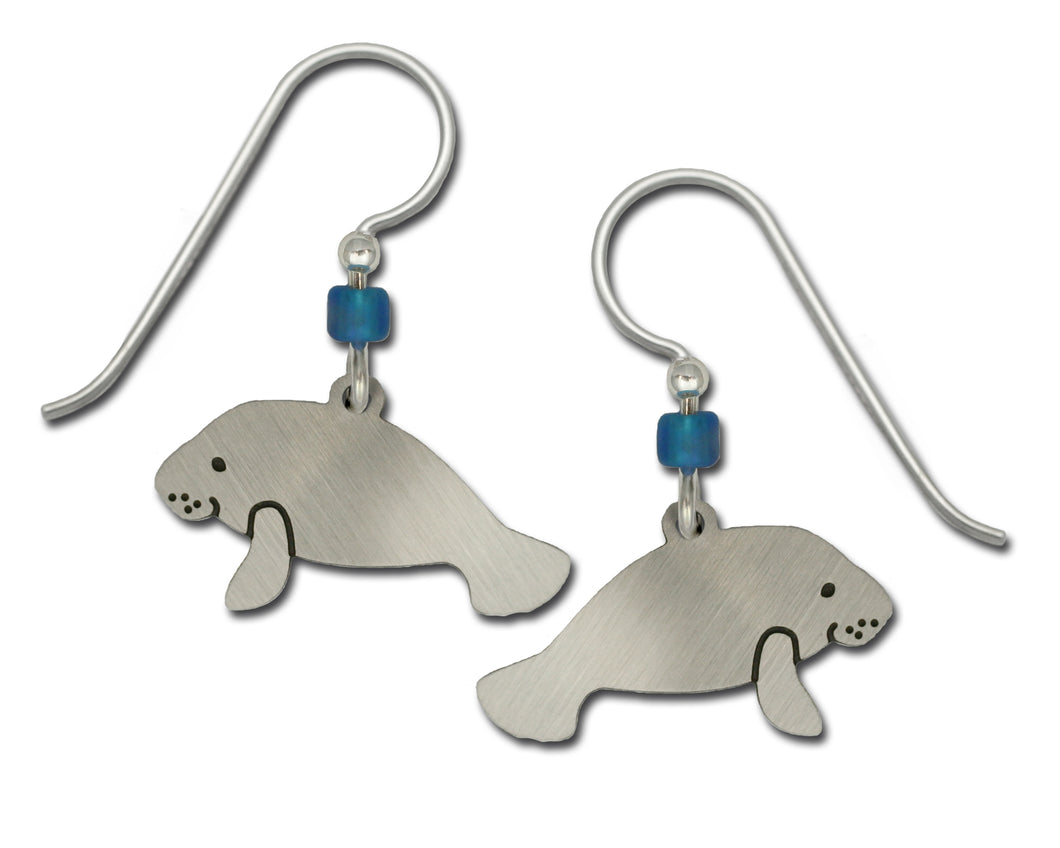 Sienna Sky Swimming Manatee Silvery Hand Painted Earrings