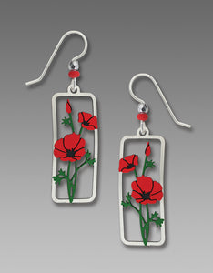Sienna Sky Red Poppies Framed Flower Hand Painted Earrings
