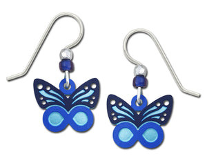 Sienna Sky Blue Infinity Filigree Butterfly Hand Painted Earrings