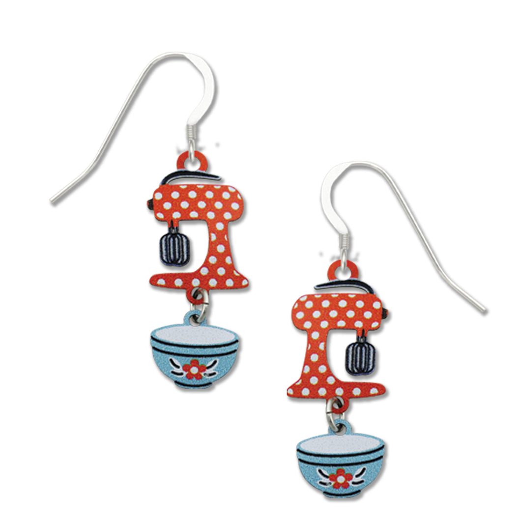Sienna Sky Vintage Retro Red Kitchen Mixer Hand Painted Earrings