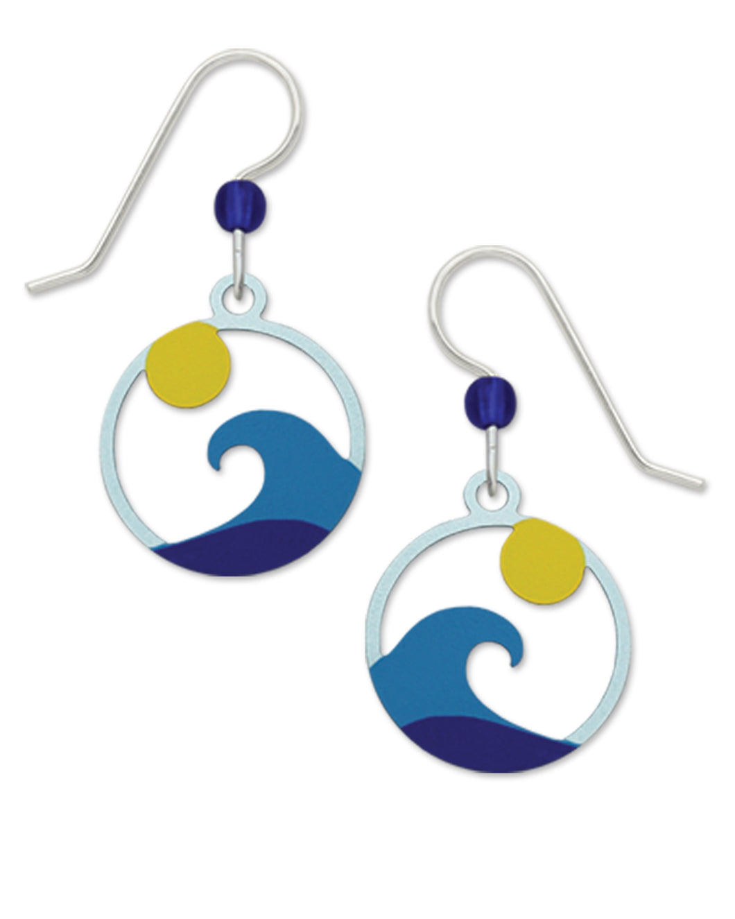 Sienna Sky Ocean Wave with Sun Hand Painted Earrings