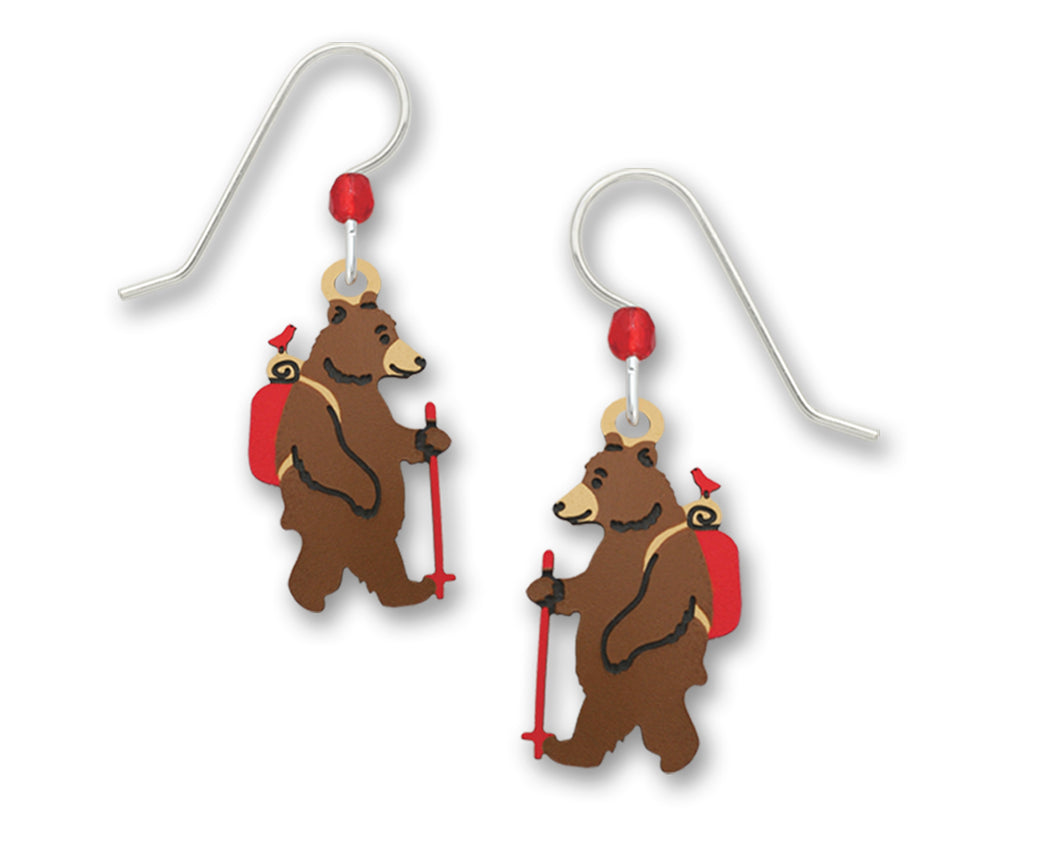Sienna Sky Hiking Brown Bear with Red Bird Hand Painted Earrings