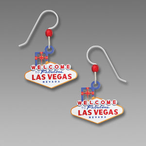 Sienna Sky Retro Vintage Welcome to Las Vegas Sign Hand Painted Earrings